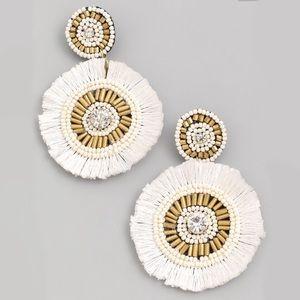 Jewelry - White + Gold | Circle Fringe Hoop Earrings